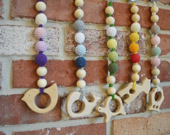Natural wooden teething clip with choice animal Pendant