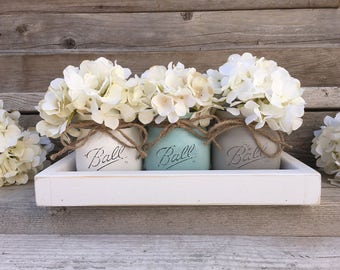 Rustic Tray with 3 Painted Mason Jars, Farmhouse Living Room Decor, Farmhouse Table Decor, Country Decor, Mason Jar Decor,Coffee Table Decor