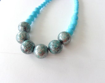 Turquoise grey silver necklace