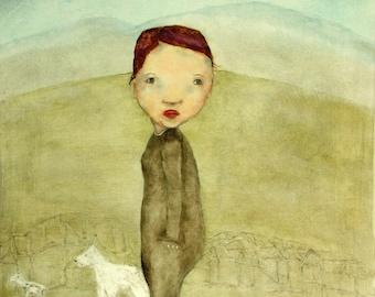 """Little girl portrait art print giclee art print for tween/teen girls room/ girl's room wall art """"Small Town Girl"""""""