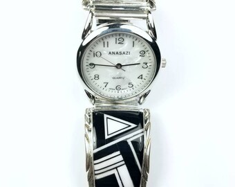 Native American Navajo handmade Sterling Silver inlay Black Onyx Howlite stone watch