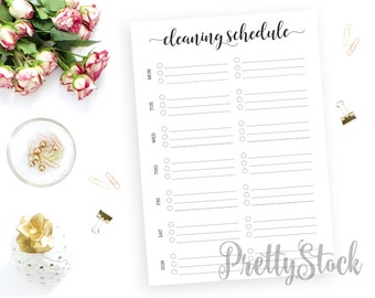 Cleaning Schedule Printable, Cleaning Printable Planner Inserts, Weekly Cleaning, A4, A5, Letter, Half letter, Binder Printable
