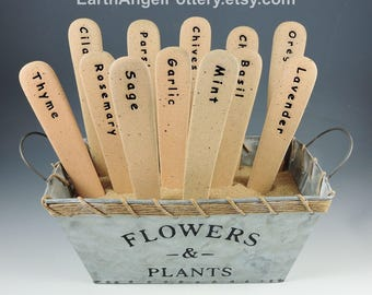 Set of 12 Ceramic HERB Markers Garden Markers Plant Markers ~ Includes Burlap Storage Bag ~ Yard Art