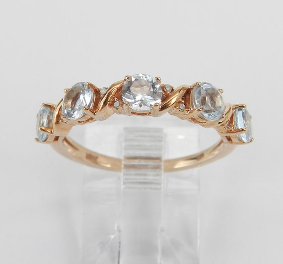 Diamond and Aquamarine Wedding Ring Aqua Anniversary Band Rose Gold Size 7 March Birthstone