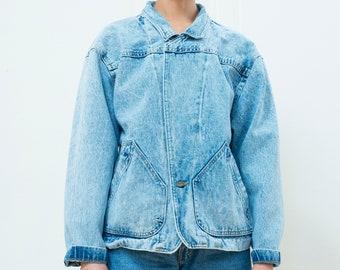 vintage blue denim jacket | acid wash jean jacket | 80s denim jacket | light denim work jacket | jean chore jacket | medium | 1980s | 80s