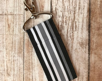 Midnight Waves Chapstick Holder- Black and White Stripe Ribbon Lip Balm Holder