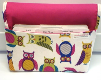 40% Off Coupon Organizer Cash Budget Organizer Holder- Attaches to your Shopping Cart - Multi Color Owls  OOP