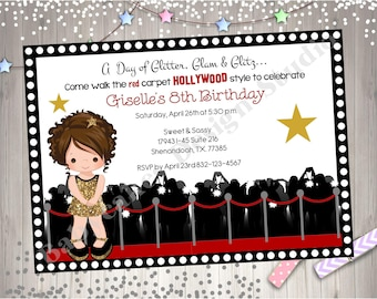 Hollywood Diva Birthday Party Invitation invite Dress Up Pamper Party Hollywood Glam Red Carpet