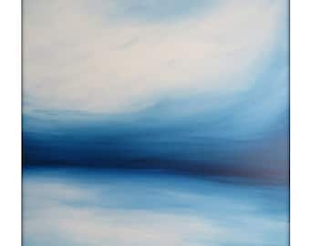 Large Abstract Painting on Canvas Modern Acrylic Skyline- 48x48- Blues and White