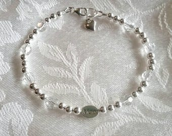 Mom Bracelet with Sterling Silver and Swarovski Crystal