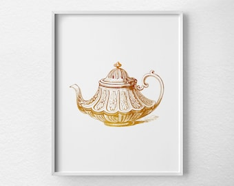 Teapot Art Print, Faux Gold Foil Print, Kitchen Print, Teapot Print, Kitchen Decor, Minimalist Decor, Tea Kitchen Art, Art For Kitchen, 0226