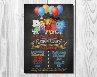 Daniel Tiger Birthday Party Invitation >> Daniel Tiger Invite  << Daniel Tiger Chalkboard << Any Age >> Custom Printable Digital File