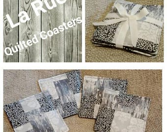 Black and white striped quilted coasters
