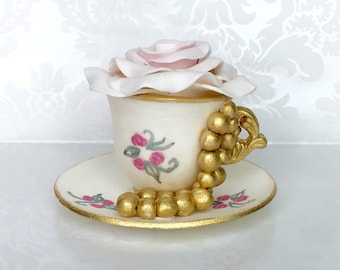 Fondant Teacup and Saucer Cake Topper. Tea party Cake Topper. Hand painted Cake Topper. Fondant Cake Topper. White and Gold Cake Topper.