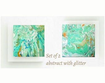 Set of 2 original abstract paintings | Abstract diptych | glitter painting | Wedding gift | Homedeco art | Gift for her | Abstrait peinture