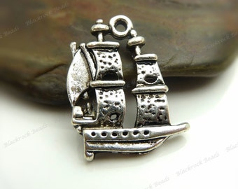 6 Ship Charms 21x16mm Antique Silver Tone Metal, Pirate Ship, Pendants, Detailed Design - BC34