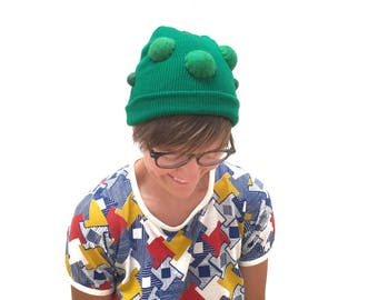 Pickle Beanie - Weird Costume Hat for Veggie Lovers - Cucumber Cap