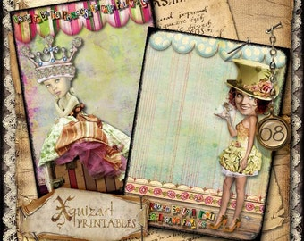 "Art Journal Page - Original Design No.08 -  5 x 7"" cards/tags/labels - premade printable"