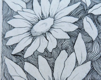 Reproduction ACEO Black and White Daisies