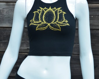 Glow in the Dark and Gold Lotus Flower Black Fitted Crop Top - Women's Yoga Top - Festival Clothing