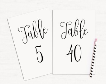 Simple table numbers printable Minimalist wedding table cards Black and white Calligraphy wedding numbers Modern table decoration T140
