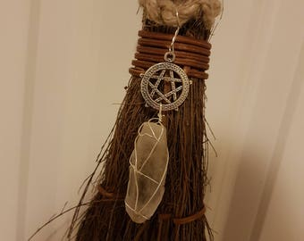 Cinnamon broom Pentacle Crystal Quartz Decor Magick - Besom Ritual Broom