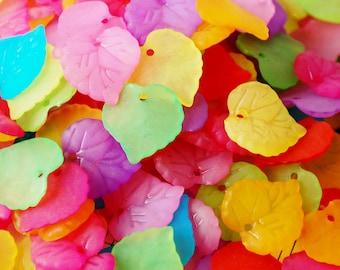 50 Acrylic Leaf Beads/Pendants 16x15mm