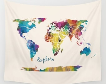 """Explore Map Blanket - """"Explore""""  comfy fleece throw blanket - geometric ccolorful world map design blue, gold, and green,"""
