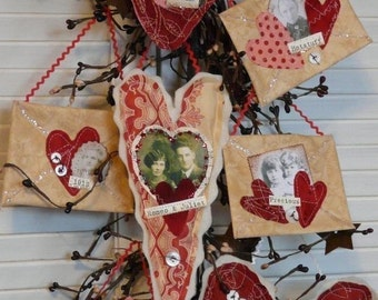 Primitive Valentine Hearts Envelope Pattern pdf - old photos altered art letter tokens of my affection sayings words decor
