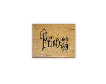 Princess mounted rubber stamp, word, little girls birthday card stamp, fairy tale, fantasy, Sweet Grass Stamps No.5