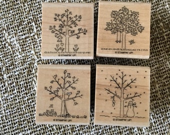 A Tree for All Seasons wooden rubber stamp set by Stamping Up! Barely used, trees, four seasons, card making, scrapbooking, mixed media