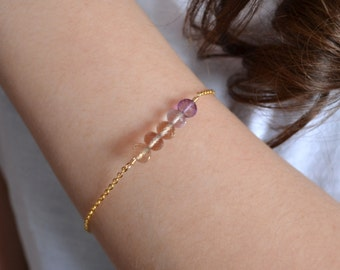 Simple Ametrine Bracelet, Gold Jewelry, Sterling Silver, Ombre Shaded Row, AAA Gemstone Row, Purple Lavender, Made to Order, Free Shipping