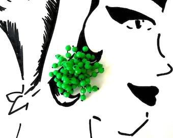 Vintage Grass Green Cluster Clip-On Earrings