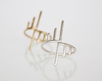 Adjustable Ring- Modern Ring- Minimalist- Midi Ring- Pinky Ring- Geometric Ring- Sterling Silver Ring