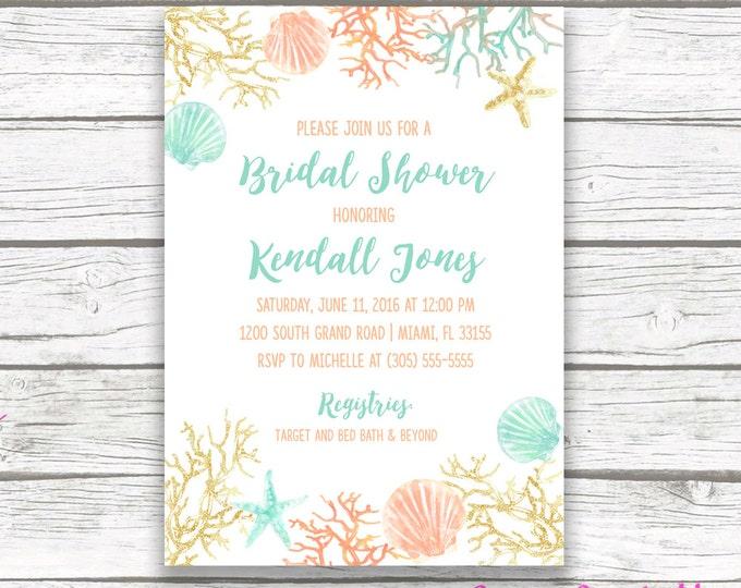 Beach Bridal Shower Invitation, Coral Starfish Bridal Shower Invite, Turquoise and Gold Destination Wedding, Printable Invitation