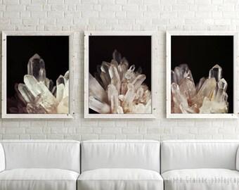 Quartz Crystal Prints, Nature Wall Art, Mineral Art, Black Beige Art, Fine Art Photography, 11x14, 8x10, 16x20 - Quartz Crystal Set of Three
