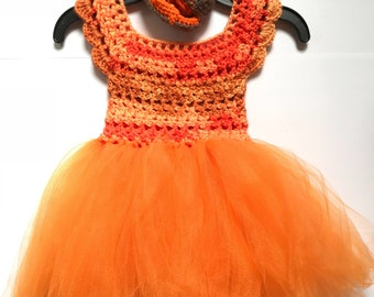 Baby girls orange dress