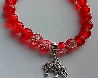 Delta Inspired Beaded 'Elephant' Charm Bracelet, Delta gift, sorority jewelry, red and white, greek gifts, inexpensive gifts