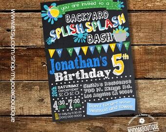 Splish Splash Party invitation backyard bash birthday party pool invite water balloons chalkboard digital printable invitation 14100