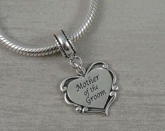 Mother of the Groom European Dangle Bead Charm - Sterling Silver Mother of the Groom Charm for European Bracelet