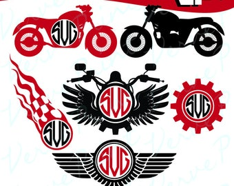 Motorcycle Monogram Svg, Motorcycle Svg, Ai, Eps, Pdf, Png Cutting file, Silhouette Clip Art svg Commercial use