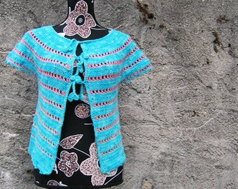 Amour bleu corail - Crochet PATTERN for ladies cardigan size XS to XL