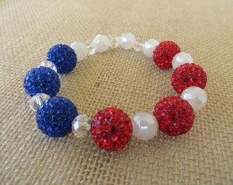 Red White and Blue Rhinestone Studded Stretch Bracelet