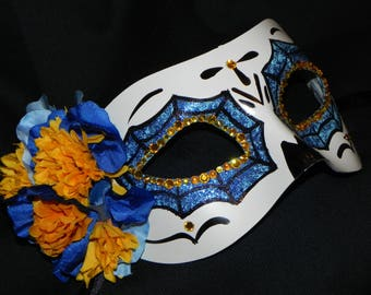 Blue, Yellow and White Day of the Dead Mask with Skeleton Hand Accent - Halloween Mask - READY TO SHIP