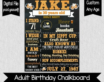 Men's 30th Birthday Chalkboard - Digital - Cheers & Beers - 50th Birthday Sign - Beer Themed Party - Party Decor - Dirty 30 - Cheers - 40th