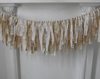 aged garland taupe floral garland shabby decor cottage chic cream rag garland nursery hanging wall decoration wedding decor 4 feet x 13inch