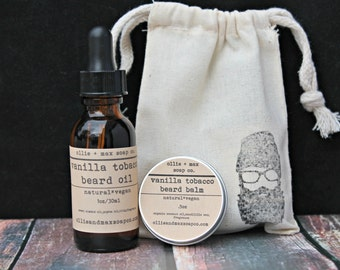 Vanilla Tobacco Beard Grooming Kit, Beard Oil, Beard Balm, Gifts for Him, Vegan gifts, Natural Gifts,
