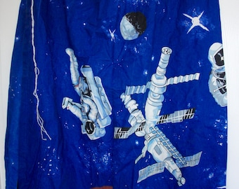 """Pair Of Vintage, Outer Space, Spaceman, Planets, Curtains, Length 48"""" Width 62"""", Fabric, Material, Home Decor, Children, Sewing, Boy, Girl"""