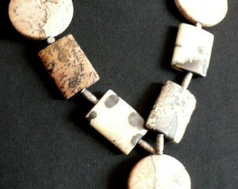 JASPER Necklace with silver spacers