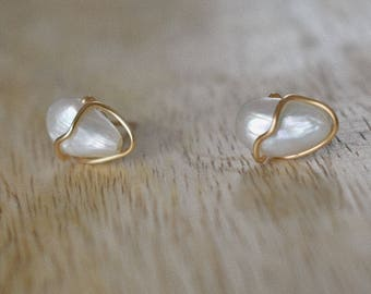 Gold Plated and Freshwater Pearl Earrings | Wire Wrapped Jewelry